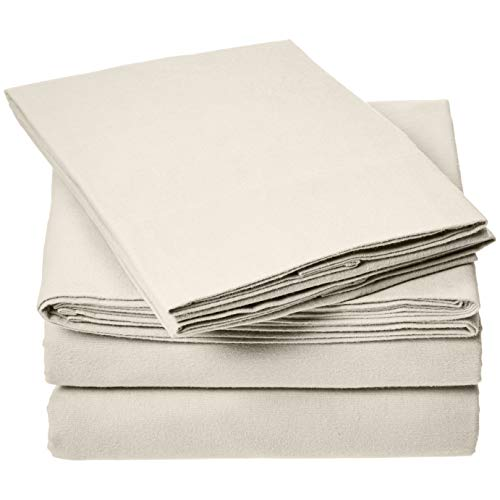 AmazonBasics Everyday Flannel Bed Sheet Set  King Beige
