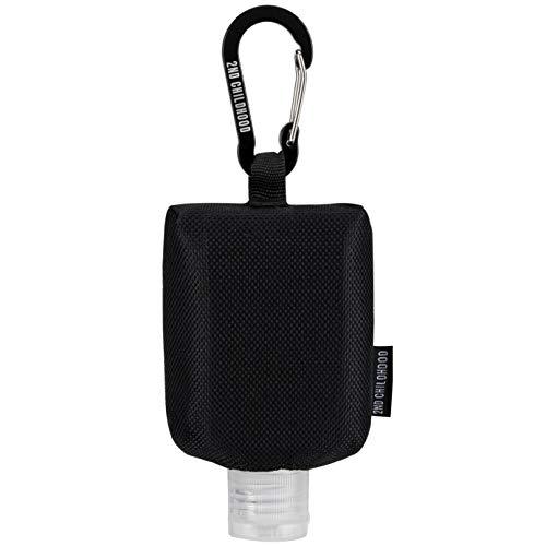 Travel Size Bottle Case, Hand Sanitizer Holder Carrier Bag - Portable Mini Waist Bag for Liquid Storage - Clip On Belt Loop, Backpack and Purse - Includes Empty Flip Cap 2 oz. Reusable Bottle (Black)