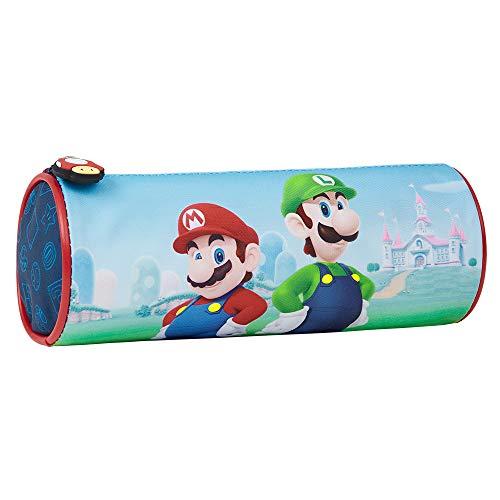 Super Mario Federtasche Kinder, Beutel Federmäppchen mit Mario & Luigi Aufdruck, Pencil Case für Kinder, Etui Schule Jungen und Mädchen, Gamers Geschenke