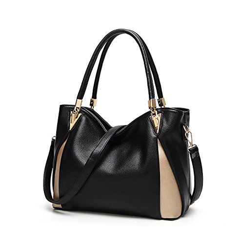 Tisdaini® Damenhandtaschen Mode Schultertaschen weich Leder Shopper Umhängetaschen Schwarz