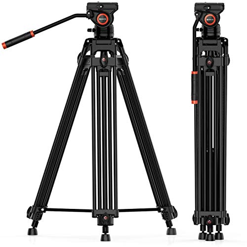 MACTREM 72 Inches Video Tripod, Professional Heavy Duty Aluminum Tripod System, 360 Degree K3 Fluid Head with Carry Bag, DSLR Camcorder Camera, Max Loading 33LB (Black)