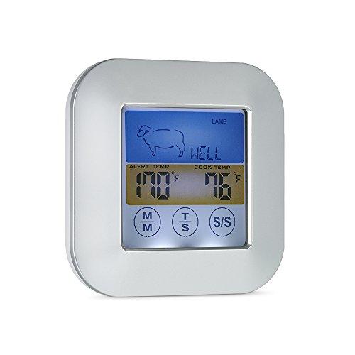 Benkeg Caslant Termometro,Termometro da Toilette Digitale a tastatore da Barba con sonda a Cristalli liquidi a Colori Display Carne Timer Tipo di Carne Scelta del Sapore