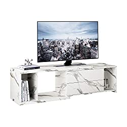 "DEVAISE Extendable Entertainment Center TV Stand for up to 60"" Screen, Marble White Finish"
