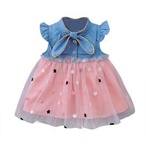 Kobay Mädchen Sommer Süßes Muster Säugling Baby Mädchen Kinder Kleider Prinzessin Gaze Star Denim Outfits Kleidung