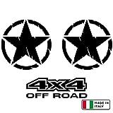 StickerLab - Set 2 Adesivi Stella US Army Militare, 4x4 off Road in Omaggio per Auto Moto Fuoristrada (Nero, 10 cm)