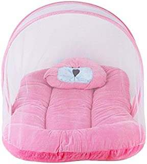 Babique Contemporary Velvet Baby Bedding Set (Pink) Soft and Comfortable with Attached Mosquito Net for Kids