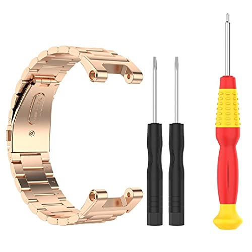 Pulsera de repuesto de acero inoxidable, correa de metal para reloj Amazfit T-Rex / Amazfit T-Rex Pro correas de reloj para hombre