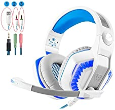 PS4 Headset, Xbox One Headset, Gaming Headset, Collee GM-2 3.5mm Stereo Bass Noise Cancelling Over-Ear Headphones with Mic Volume Control LED Lights for PC, Laptop, Smartphones, Wii U (White-blue)