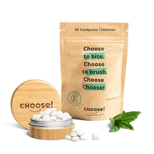 CHOOSE Zahnpasta Tabletten mit bambus aufbewahrungsbox - Starter Box   nachhaltige Zahnputztabletten ohne Plastik   Zero waste vegane Zahnpasta Tabs ohne Mikroplastik   Ökologische Zahnpastatabletten