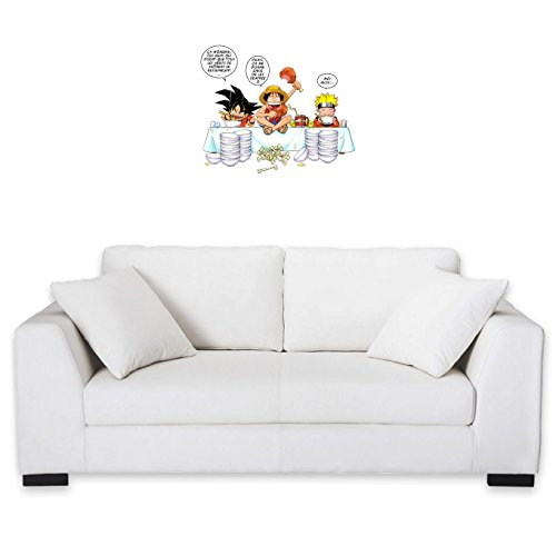 Okiwoki Sticker Mural DBZ, One Piece et Naruto parodique Luffy, Sangoku et Naruto : Manger, Cogner, Dormir, la Recette du Bon Shonen : (Parodie DBZ, One Piece et Naruto)