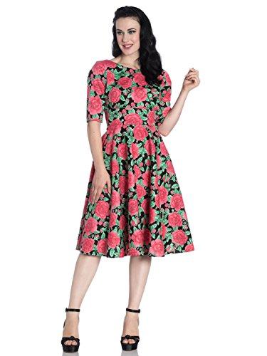 Hell Bunny anni '40 anni '50 nero Pin Up vestito vintage Darcy rose rosa multicolore XXL