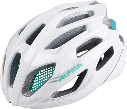 ALPINA FEDAIA Fahrradhelm, Unisex– Erwachsene, white-smaragd, 53-58