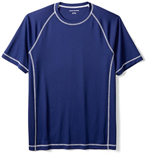 Amazon Essentials Men's Short-Sleeve Quick-Dry UPF 50 Swim Tee, Navy, X-Large