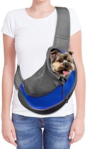 Transportador de mascotas con bolsa de transporte para perros pequeños, gatos, con bolsa de malla transpirable para viajes al aire libre, caminatas, subterráneo, 12 libras