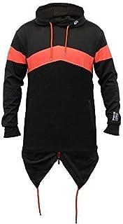 SoulStar Mens Long Line Sweatshirts Hooded Top Fish Tail PU Zip Casul Winter
