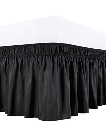 Biscaynebay Wrap Around Bed Skirts with Adjustable Belts, Black for Queen Size Beds 15 Inches Drop, Elastic Dust Ruffles, Easy Fit Wrinkle and Fade Resistant Silky Luxurious Fabric Solid Color
