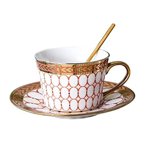 Latte Art Cup European Craft Coffee Cup and Saucer Tea Set, Ceramic Phnom Penh Bone China Coffee Set with Saucer and Spoon, Simple Afternoon Cup Hanging Ear Cup Set,gift Box Coffeezone (Color : RED)