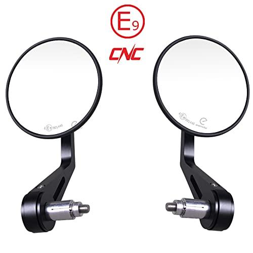 Evermotor Universal CNC Aluminium Lenkerendenspiegel Motorrad Rückspiegel Spiegel Set E-geprüft