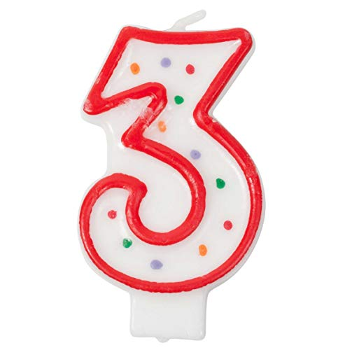 Crave Number Birthday Candle Cake Topper, Red Polka Dot Decoration for Birthdays, Anniversaries, Weddings
