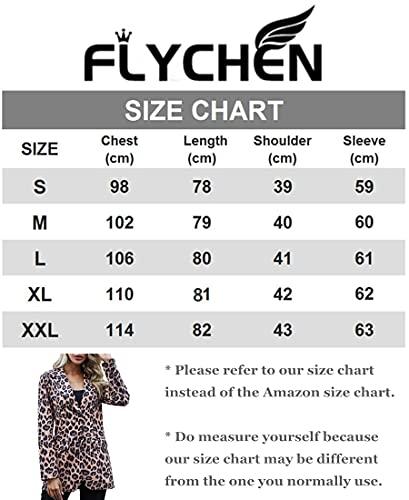 FLYCHEN Chaquetas de Traje y Blazers para Mujer OL Office Lady Chaqueta Floral Coat Casual de Moda Casual Blazers, Blanco Pintada, 2XL