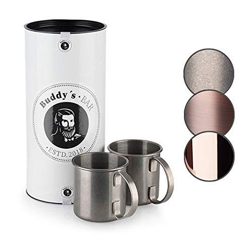 Buddy's Bar - 2 tazze per Moscow Mule, 450 ml, tazze in acciaio inossidabile di alta qualità, tazze da cocktail con esclusiva confezione regalo, acciaio inossidabile con ottica antica, set da 2 pezzi