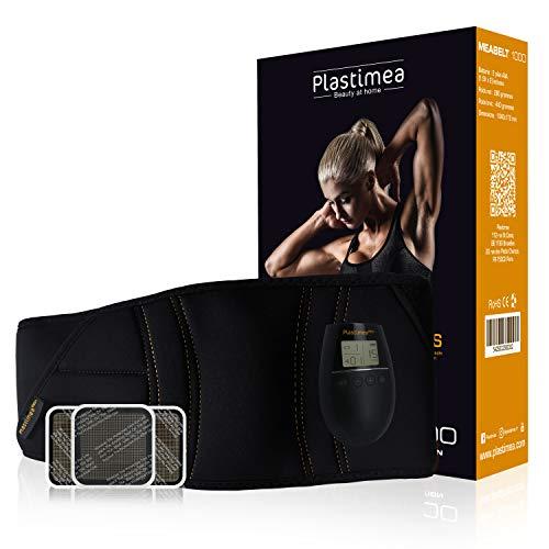Plastimea Electroestimulador Abdominal Muscular Gluteos Masajeador Eléctrico Meabelt 1000 Cinturón para Hombre y Mujer Cinturón Abdominal EMS Abs Trainer