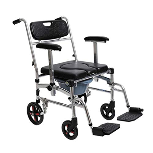 Bathroom Wheelchairs RRH Bedside Commodes Lightweight Folding Self Propelled Wheelchair, with Commode Chair Function Adjustable Height of The Armrest
