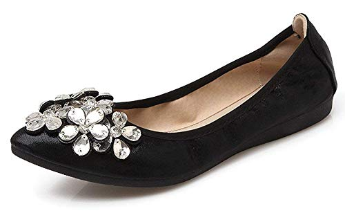 CANPPNY Women Wedding Flats Rhinestone Wedding Ballerina Shoes Foldable Sparkly Bridal Slip on Black Flat Shoes, 8