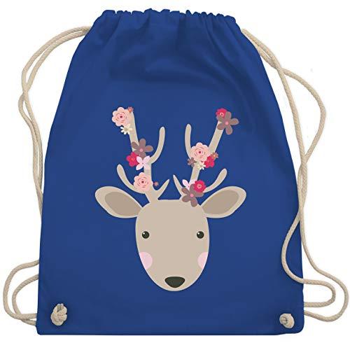 Shirtracer Oktoberfest & Wiesn Kind - Süßer Hirsch - Frühlingstiere mit Blumen - Unisize - Royalblau - beutel+rucksack+blumen - WM110 - Turnbeutel und Stoffbeutel aus Baumwolle