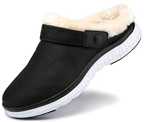 Women's Men's Lined Clogs Winter Garden Shoes House Slippers Slip On Faux Fur Lining Home Shoes Indoor Outdoor Mules w/Anti-Skid Rubber Sole