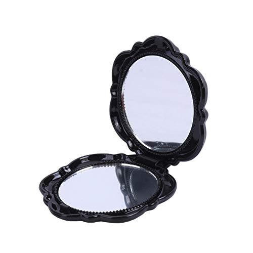 1 pc Portable Miroir Pliant En Plastique Rose Couverture Miroir Cosmétique Circulaire Double Face Miroir Maquillage Rond