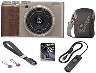 Fujifilm X-F10 Digital Camera with 18.5mm Wide Angle Lens, Gold - Bundle with Camera Case, 32GB SDHC Memory Card, RR-90 Remote Release, Peak Camera Cuff Wrist Strap, Charcoal