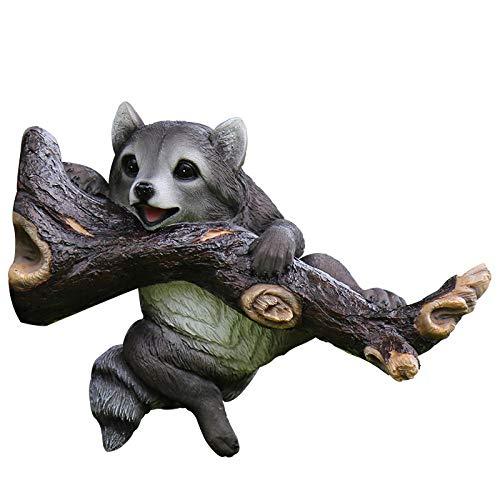 Outdoor Garden Raccoon Ornament Outdoor garden landscape tree pendant resin animal simulation raccoon villa garden courtyard yard decoration ideas (34x14x25cm) Animals Statues and Sculptures