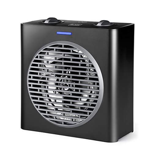 BLACK+DECKER BXSH2003E - Radiateur soufflant 2000W, 2 puissances de chauffage, Fonction ventilateur, Surface jusqu'à 15m2, Système anti-surchauffe, Poignée, Compact, Noir
