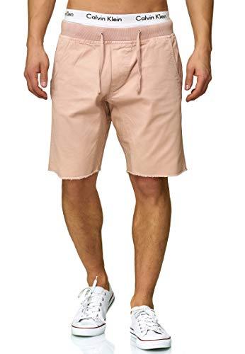 Indicode Herren Carver Chino Shorts aus 100% Baumwolle | Kurze Hose Regular Fit Bermudas Sommerhose Knielang Herrenshorts Destroyed Short Men Pants Chinohose kurz für Männer Cameo Rose XXL