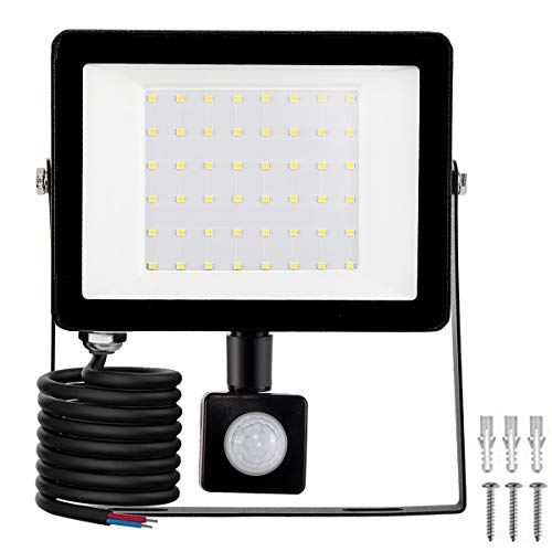 LED Foco Exterior con Sensor Movimiento, Proyector Led Impermeable IP65 Floodlight Led Foco Blanco Frío 6500K Exterior Iluminación para Patio, Almacén, Camino, Jardín (50W, 1Pack)