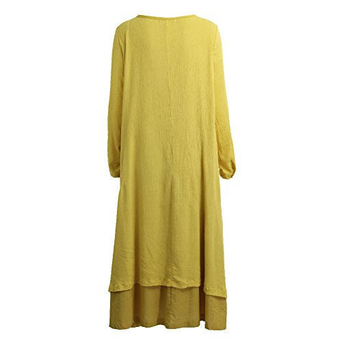 Romacci Romacci Damen Beiläufige Lose Kleid Fest Langarm Boho Lang Maxi Kleid S-5XL Schwarz/Weiß/Rot/Gelb, Gelb, S