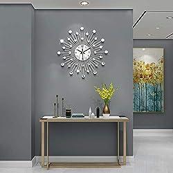 JUJUDA Modern Wall Clock 12.99inch Round Diamond Luxury Wall Decorative Silent Wall Clock for Living Room,Bedroom,Office