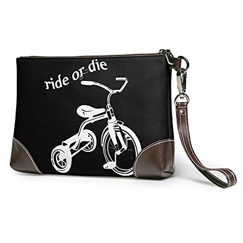Hdadwy Ride or Die Triciclo Mujer Portátil Suave Cuero Genuino Embrague Muñequera Pequeño Bolso Clásico Cartera Grande
