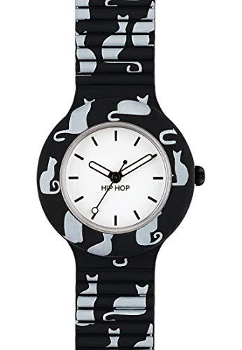 Hip Hop Watches - Orologio da Donna Hip Hop Cat HWU0617 - Collezione Animals Addicted - Cinturino in Silicone - Cassa 32mm - Impermeabile - Nero