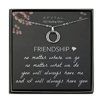 EFYTAL Best Friend Gifts Sterling Silver Studded Ring Interlocking Circles Necklace Friendship Necklaces Bridesmaid Gift Pendant Jewelry for Her