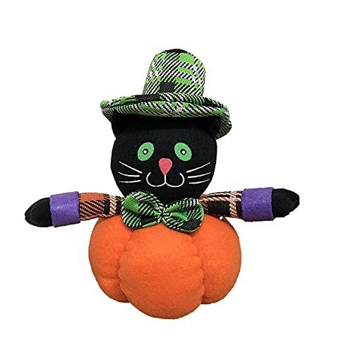 SLJXY Animales de peluche para Halloween, calabaza, figuras rellenas de bruja, gato negro, decoración de Halloween, decoración para casa de spukhaus Noche de terror, decoración de Halloween