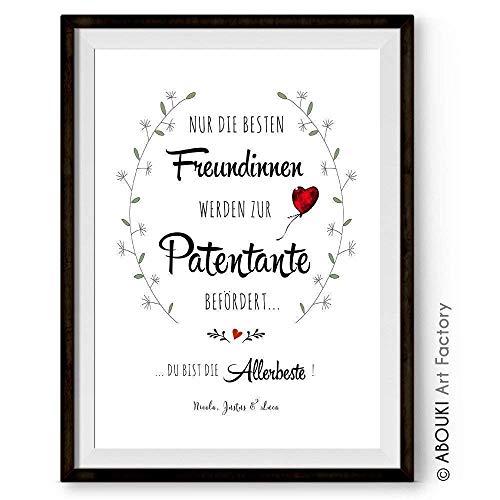 """ABOUKI hochwertiger Kunstdruck - ungerahmt - """"Nur die besten Freundinnen werden zur Patentante befördert."""" personalisierter Druck individuelle Geschenk-Idee für beste Freundinnen, Taufgeschenk"""