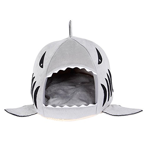 CDKJ 42x42x37cm Cachorro de Gato de Cama de Mascota de Forma de tiburón Redondo (Gris)