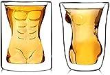 Juego de decantador de Whisky, Regalos para Hombres, 2 Piezas, Taza de Vaso de Cerveza Creativa, Forma Sexy y Divertida, Belleza Divertida, Hombre musculoso, Vasos de Doble Pared, Vino, WHIS
