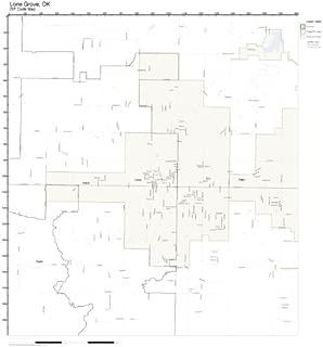 ZIP Code Wall Map of Lone Grove, OK ZIP Code Map Not Laminated
