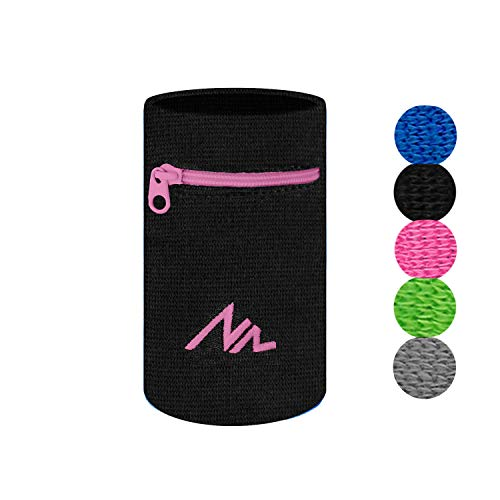 NEWZILL Wrist Wallet (Wristband) with Zipper - for Running, Walking, Basketball, Tennis, Hiking, Cross-Fit and More (Black/Pink-L)