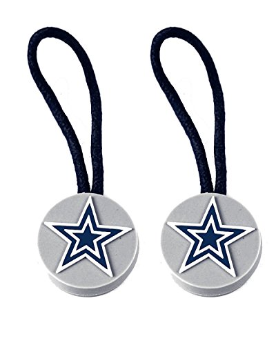 aminco NFL Dallas Cowboys Zipper Pull Charm Tag Set for Luggage & Pet ID (2 Pack), One Size, Black