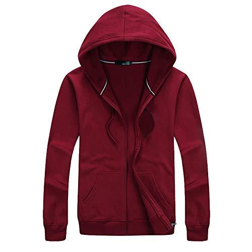 Sudadera para hombre de gran tamaño, color liso, con capucha y bolsillos y cordón ajustable, de algodón, ligera, transpirable, para el trabajo, ocio, caminar, fsg-393 Rojo Vino Tinto XXXXX-Large