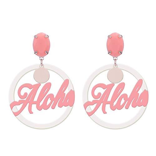 DJMJHG Pendientes de Gota de Letra de Resina de Moda de Color para Mujer, joyería Femenina, Pendientes de Boda,Coral Blanco